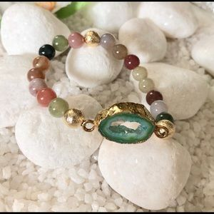 Jewelry - 🛍MULTICOLORED NATURAL AGATE AND DRUZY BRACELET💗